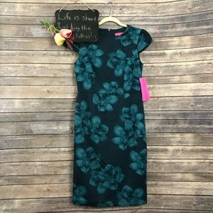 Betsey Johnson teal blue green floral dress